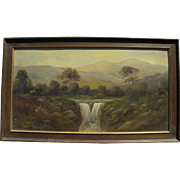 Old American landscape painting including mountains and waterfall