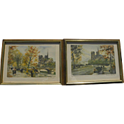 CHARLES BLONDIN (1913-1991) pencil signed limited edition **PAIR** of Paris prints Seine River
