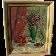 American impressionist still life painting circa 1950 signed Sprague