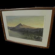 ALFRED FARNSWORTH (1858-1908) early California art fine watercolor painting of Mt. Tamalpais .