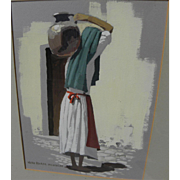 JACK DUDLEY (1918-1996) gouache painting of Mexican woman carrying water jug by listed ...