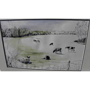 SAM SMITH (1918-1999) listed New Mexico art fine watercolor painting of cows in a ...