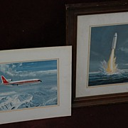 Aviation art PAIR of gouache paintings Lockheed jet and submarine rocket by noted aviation art
