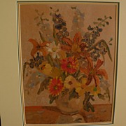 ALBERT FRANCK (1899-1973) listed Canadian art 1946 monotype print of vase and flowers