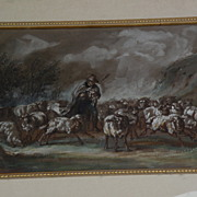 PIERRE FREDERIC LEHNERT (1811-?) signed mid 19th century French art gouache drawing shepherd a