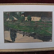 BENJAMIN RUTHERFORD FITZ (1855-1891) listed American art signed watercolor rural scene dated 1
