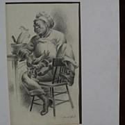 DUVAL RUBY BEARDEN ELIOT (1909-1990) California art pencil drawing WPA style