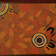 Australian aboriginal traditional tribal art dot painting