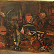 Large abstract painting circa 1960s style of Roberto Matta