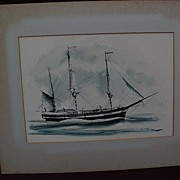 NELSON COOK WHITE (1900-1989) Marine art clipper ship watercolor painting
