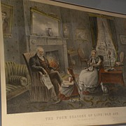 """Currier & Ives American 19th century lithograph restrike print """"Four Seasons of Life:  Ol"""