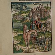 Old facsimile of medieval incunabula woodblock print book illustration by Johann Grueninger (1