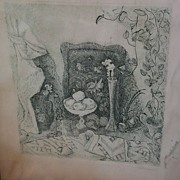 Modern Russian etching pencil signed still life print
