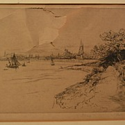 GUSTAVE LEHEUTRE (1861-1932) French etching DAMAGED original drypoint print of Brittany