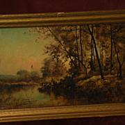 FRANK CLARK BROMLEY (1859-1890) American 19th century art tonalist landscape painting Illinois