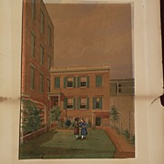 American vintage 1875 watercolor painting young girls and mid 19th century buildings