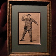 PAUL GRIMM (1892-1974) California art early illustration drawing of William Howard Taft throwi