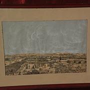 Unique historical ink drawing of circa 1870 Los Angeles California