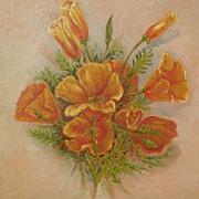 Vintage California art still life painting of poppies circa 1900