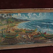 Southeast Asian School large 1967 signed oil scenic poetic coastal painting
