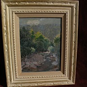 SOLD Impressionist western or California painting river canyon in the mountains