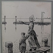 Dutch art ink drawing of Volendam dated 1908 signed by artist
