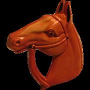Horse Head Pin Brooch Celluloid