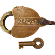 SOLD SO.RY (Southern Railway ) Brass SIGNAL LOCK and key