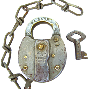 SALE PENDING WABASH railroad Slaymaker steel SWITCH LOCK/ Brass shackle with KEY