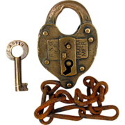 SOLD B&O (Baltimore & Ohio) Railroad Brass SWITCH LOCK & key, Fraim Co
