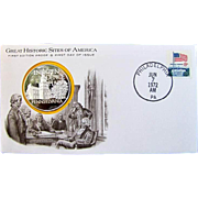 GREAT HISTORIC SITES OF AMERICA- Franklin Mint, 50 state STERLING SILVER medals on First Day .
