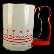 SOLD Vintage Red & White Androck Hand-i-Sift Jr. with Original Price Stamp