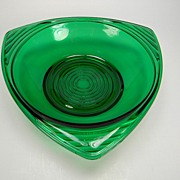 Vintage Anchor Hocking Forest Green 3-Cornered Bon-Bon Bowl