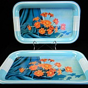 Two Vintage Turquoise Blue & White Trays with Orange Floral Motif