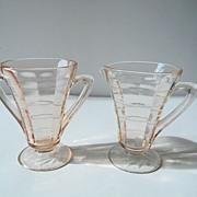 Pink Block Optic Creamer & Sugar by Hocking Glass