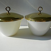 Two Fire King Anchorwhite Splash Proof Mixing Bowls with Hard-to-Find Lids