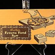 SOLD Vintage Hostess Frozen Food Saw with Caramel Brown Swirl Bakelite Handle in Original Box