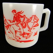 SOLD Vintage Hazel Atlas Kiddie Ware Cowboy & Indian Milk Mug