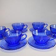 Six Cobalt Blue Aurora Cups & Saucers