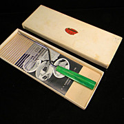 Vintage 1930's Cake Breaker with Apple Green Swirl Bakelite Handle in Original Box with Origin