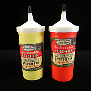 1950's Lustro-Ware Ketchup & Mustard Dispensers with Original Labels