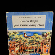 Vintage 1950 Favorite Recipes From Famous Eating Places Cook Book