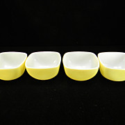 SOLD Four Yellow Pyrex Ramekins/Bowls (#407)