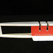 """Vintage 1950 Red & White """"Lil-Sharpy"""" Knife Sharpener"""