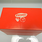 SOLD Vintage 1950's Red Winking Chef Recipe Box with Recipes