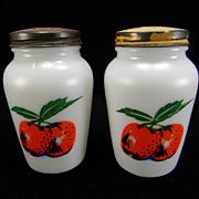 """Fire King """"Apples"""" Salt & Pepper Shakers"""