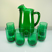 SOLD Anchor Hocking Forest Green 7 Pc. Fruit Juice Set