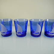 "SOLD Four 1930's Cobalt Blue ""Ships"" Old Fashioned Tumblers by Hazel Atlas"