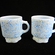 SOLD Two Rare Concord Blue Fire King Mugs