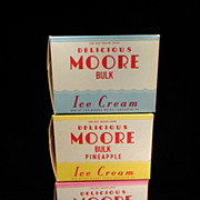 Three Vintage New Old Stock Moore Dairy Ice Cream Containers